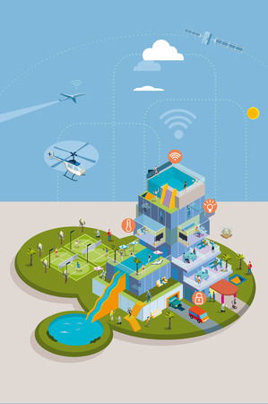 residential home: Intelligent House. People Living in a Smart residential building. They enjoy all the technological advances at home, with home automation technologies. Illustration