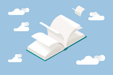 not open: Open book with flying white pages, in isometric perspective.