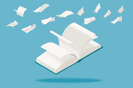 等尺性の視点での白いページに飛んで開いた本は。  イラスト・ベクター素材
