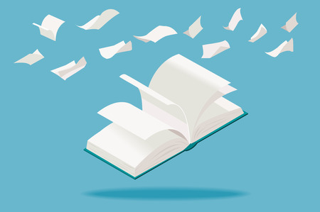 Open book with flying white pages, in isometric perspective.