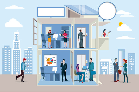 Office building with people working in different departments.