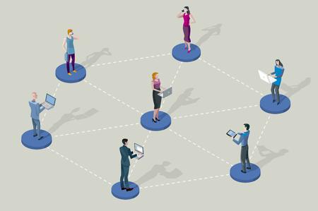 Sociaal netwerk mensen. Ze staan op sokkels kringen. Ze zijn allemaal met elkaar verbonden door hun divices laptop, tablet, smartphones.