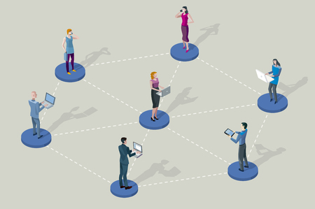 network people: Social network people. They are standing on pedestals circles. They are all interconnected by Their divices laptop, tablet, smartphones.