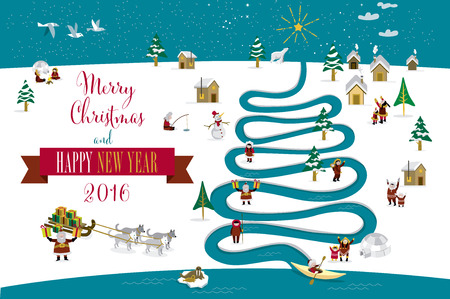 eskimos: Cute skimos characters celebrating Christmas and New Year 2016 holidays in little snowy village with a river in tree form. Text in English.