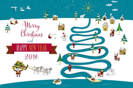 esquimales: Skimos lindos personajes que celebran Navidad y Año Nuevo de 2016 días de fiesta en la pequeña aldea de nieve con un río en forma de árbol. Texto en Inglés.