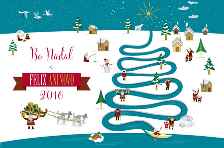 galician: Cute skimos characters celebrating Christmas and New Year 2016 holidays in little snowy village with a river in tree form. Text in Galician.