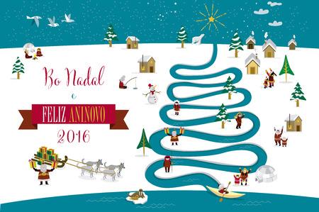 esquimales: Skimos lindos personajes que celebran Navidad y Año Nuevo de 2016 días de fiesta en la pequeña aldea de nieve con un río en forma de árbol. Texto en gallego. Vectores