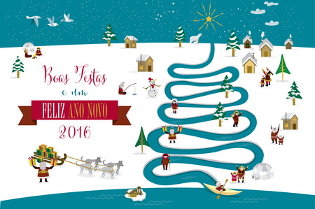eskimos: Cute skimos characters celebrating Christmas and New Year 2016 holidays in little snowy village with a river in tree form. Text in portuguese.