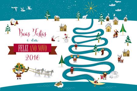 esquimales: Skimos lindos personajes que celebran Navidad y Año Nuevo de 2016 días de fiesta en la pequeña aldea de nieve con un río en forma de árbol. Texto en portugués.