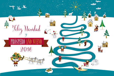 eskimos: Cute skimos characters celebrating Christmas and New Year 2016 holidays in little snowy village with a river in tree form. Text in spanish.