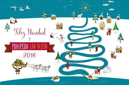 esquimales: Skimos lindos personajes que celebran Navidad y Año Nuevo de 2016 días de fiesta en la pequeña aldea de nieve con un río en forma de árbol. Texto en español.