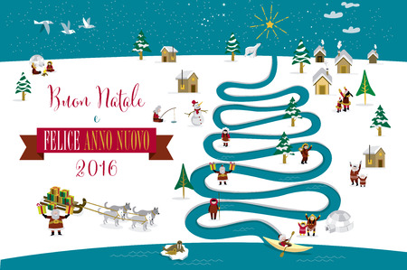 sledge dog: Cute skimos characters celebrating Christmas and New Year 2016 holidays in little snowy village with a river in tree form. Text in Italian.