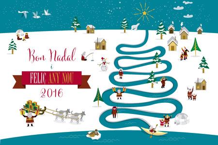 esquimales: Skimos lindos personajes que celebran Navidad y Año Nuevo de 2016 días de fiesta en la pequeña aldea de nieve con un río en forma de árbol. Texto en catalán.