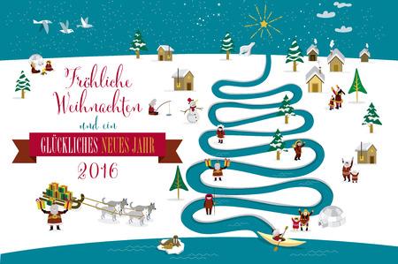 esquimales: Skimos lindos personajes que celebran Navidad y Año Nuevo de 2016 días de fiesta en la pequeña aldea de nieve con un río en forma de árbol. Texto en Geman.