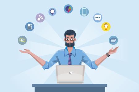 Knappe senior man met baard in overhemd en stropdas werken op de laptop. Hij is een expert tecnology goeroe.