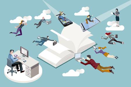 Uitgeverij medewerkers vliegen in de richting van een open boek en werken in het. Stock Illustratie