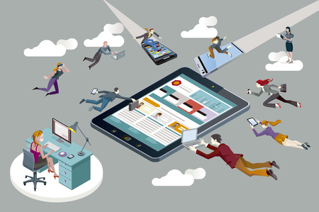workers fliying with computers, tablets and mobile phones, creating content for a digital magazine view a big digital tablet. Illustration