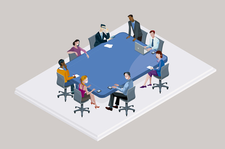 conference table: Colleagues at an office meeting arround a big blue conference table.