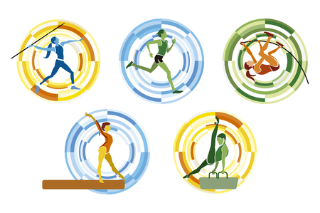 gymnastics: Five different  sports disciplines on a circular background.