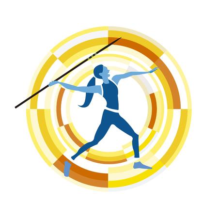 competitividad: cifra mujer que lanza la jabalina. disciplinas deportivas icono en un fondo circular.
