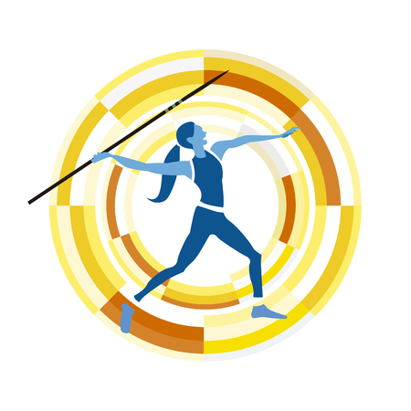 disciplines: woman figure throwing the javelin.  sports disciplines icon on a circular background.