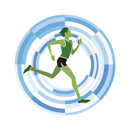athleticism: Man figure running.  sports disciplines icon on a circular background. Illustration