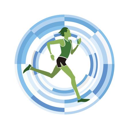 Man chiffre en cours d'exécution. disciplines sportives icône sur un fond circulaire.