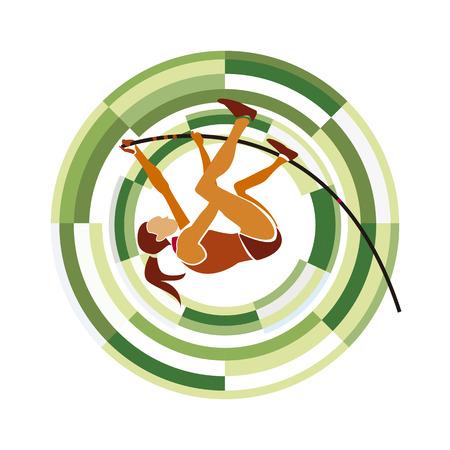 Pole Vault.  sports disciplines on a circular background. Illustration