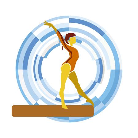 competitividad: Barra de equilibrio. disciplinas deportivas en un fondo circular.