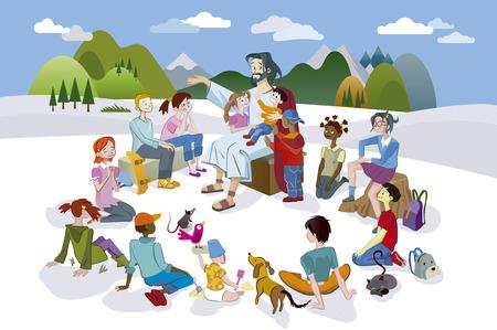 Jesucristo está rodeada por un círculo de niños y enseño Ellos con amor.