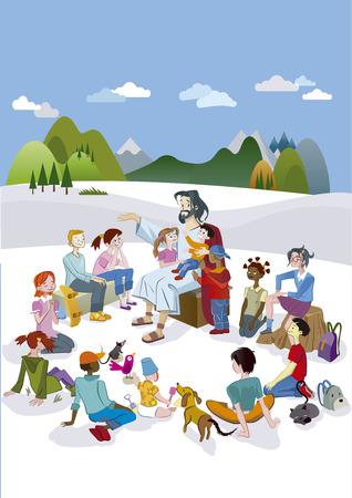 Jezus Christus is omringd door een cirkel van kinderen en ik leer ze met liefde. Stock Illustratie