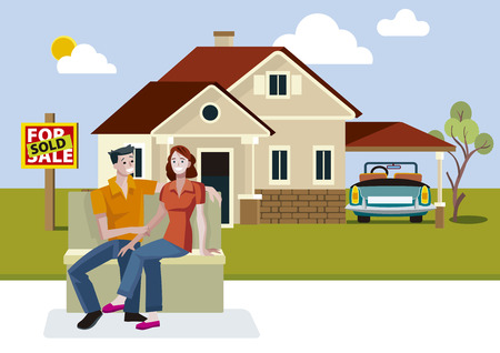 sold sign: Young couple outside their new house with sold sign.  Illustration