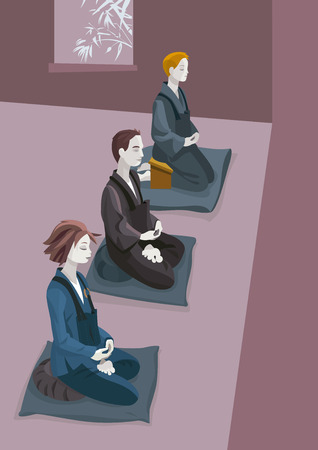 equanimity: A group of people practicing zen meditation (zazen). Sitting in silence concentrated in the breath and in koan MU