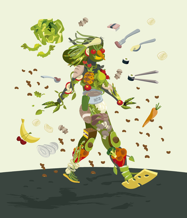 woman eating: Healthy organic food concept. Smiling female silhouette made with fresh fruits an vegetables. She walks optimistically and decisively.