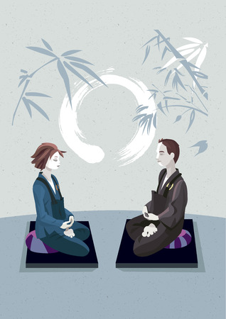 lotus position: Man and woman sitting in the lotus position, in a meditation hall, practicing silent meditation. They belong to the tradition of Zen Buddhism. In the background an enso draw. Illustration