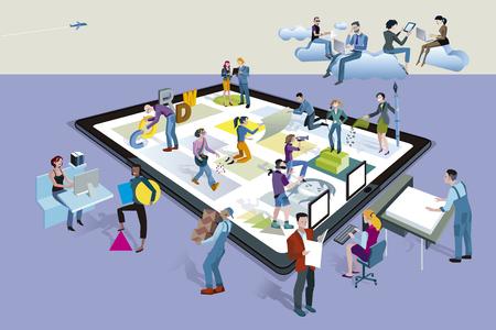 Een team van mensen die creatief aan de slag samen creëren van content op een tablet. Andere mensen downloaden de inhoud op hun mobiele apparaten.
