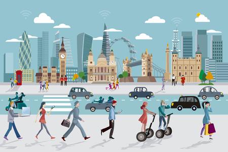 ロンドンのスカイラインを行くビジネス人と  イラスト・ベクター素材