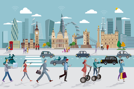 distric: London Skyline and Business People Walking