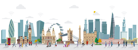 global finance: Panoramic of London Skyline and People Walking. City of London one of the leading centers of the global finance.