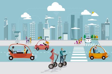Camino en la ciudad con automóviles sin conductor y personas caminando en la calle. En los rascacielos del horizonte. Ilustración de vector