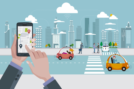 Mans hands with a smart phone with a location app. Roads with autonomous driverless cars and people walking on the street.