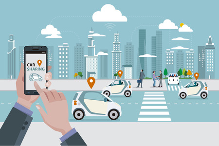 Man's hands with a smart phone with a car sharing app. Roads with car sharing cars and people walking on the street. In the skyline