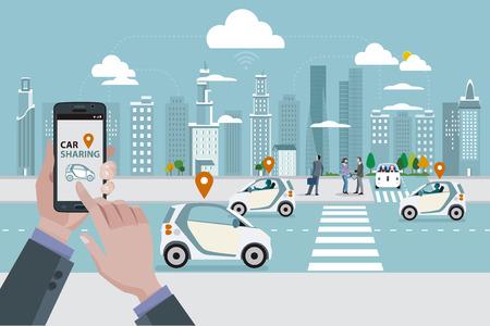 Ręce mężczyzny z inteligentnego telefonu z aplikacją car sharing. Drogi z udostępniania samochodu samochodów i ludzi chodzenia na ulicy. W panoramę