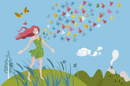 Gesunde Frau atmet in einer natürlichen und Frühlingslandschaft. Farbige Schmetterlinge kommen aus der Brust. Sie ist glücklich und voller Vitalität.