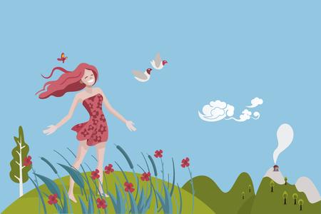 Gesunde Frau atmet in einer natürlichen und Frühlingslandschaft. Sie ist glücklich und voller Vitalität. Sie schaut ein paar Tauben.