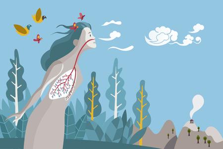 Kobieta oddychająca w naturalnym i zdrowym otoczeniu. Jego płuca to gałęzie i liście drzewa, metafora zdrowego życia.