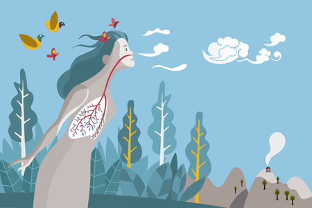 Mujer que respira en un entorno natural y saludable. Sus pulmones son las ramas y hojas de un árbol, metáfora de una vida saludable.