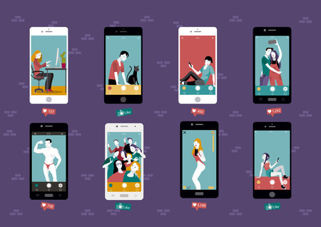 Modern life and cocial media. Self photo concept illustration.Apartments block with windows that are screens of smart phones. Group of People Taking Selfie and sharing them in social networks. Ilustração