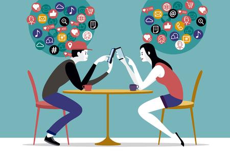 Coppie millenarie che si siedono su un caffè usando i loro telefoni intelligenti, chiacchierando e mandando messaggi di testo alle reti di amici.
