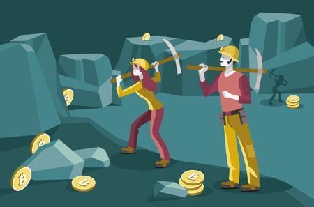 mannelijke en vrouwelijke mijnwerkers die in een mijn werken om de virtuele munten bitcoin te verkrijgen